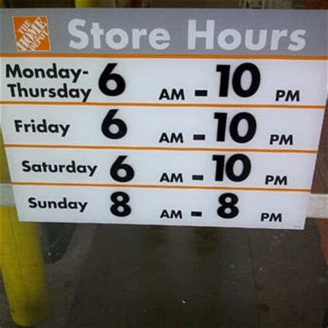 home depot opening hours saturday