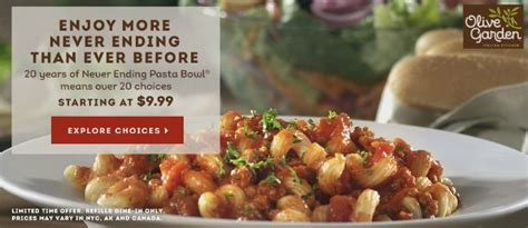 Olive Garden Pasta Bowl by Olive Garden Never Ending Pasta Bowl Is Back
