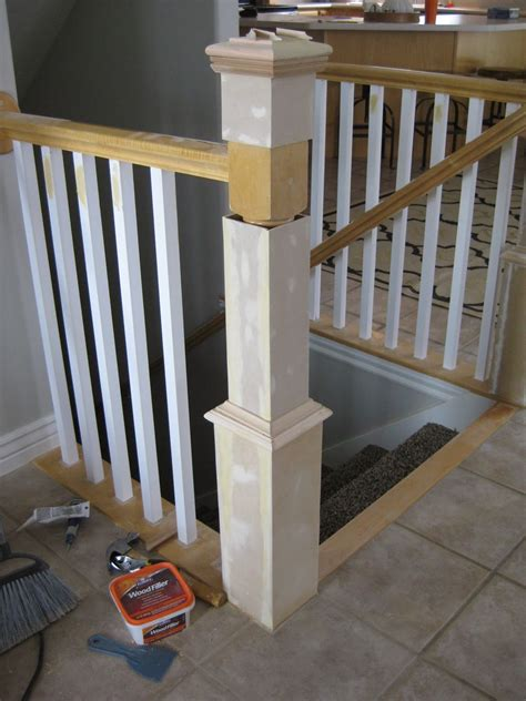 banister post tops update a banister with diy newel post and spindles tda