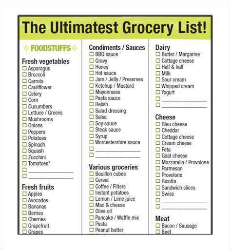standard grocery shopping list oyle kalakaari co