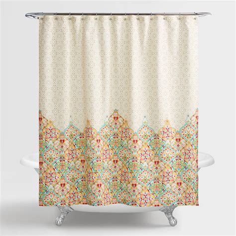 taupe shower curtain taupe moroccan bazaar shower curtain world market