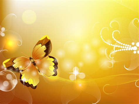Yellow Gold Butterfly Backgrounds Presnetation Ppt Powerpoint Background Butterfly