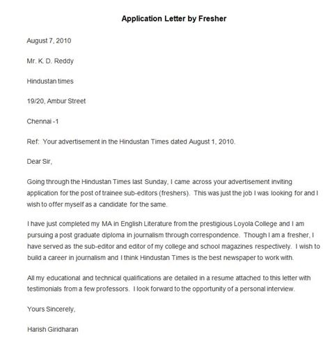 Cover Letter For Application As A Fresher 50 Best Free Application Letter Templates Sles