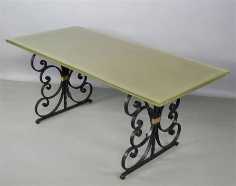 Glass Wrought Iron Dining Table 1940s Wrought Iron And Glass Top Dining Table For Sale At 1stdibs