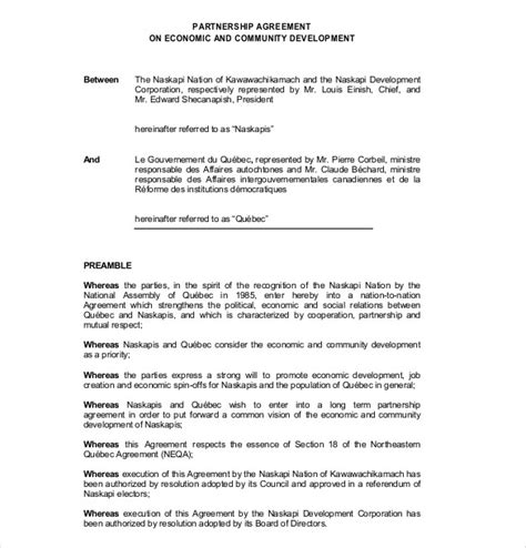partnership template agreement 12 partnership agreement templates free sle exle