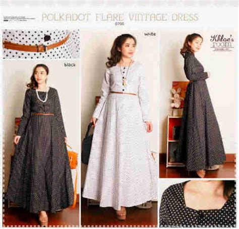 dress katun rainbow 0718 polkadot flare vintage dress i l o v e f a s