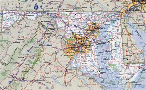 maryland map cities large detailed roads and highways map of maryland state