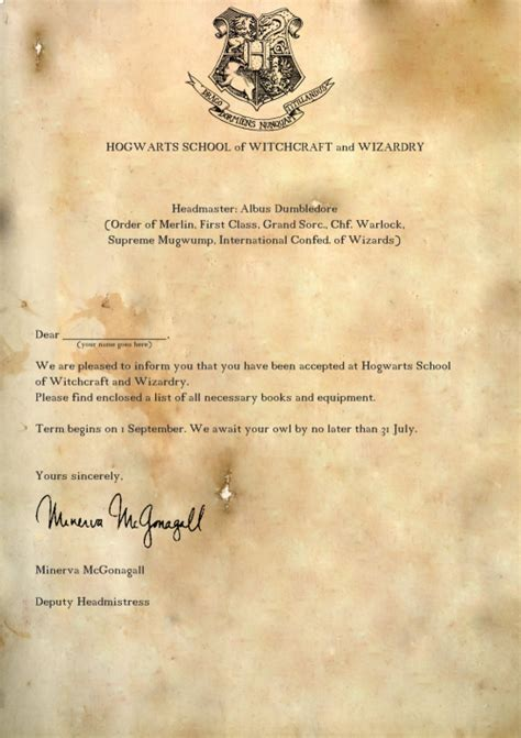 Hogwarts Acceptance Letter By Mail Everything Harry Potter