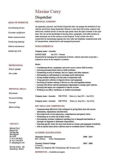 truck dispatcher resume exles 28 images dispatcher