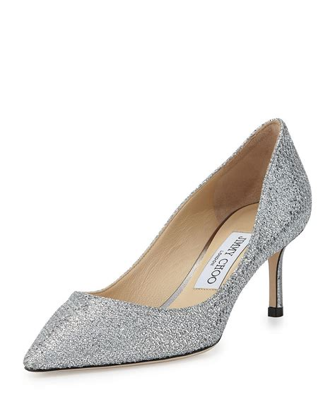 Heels Gliter Stude Valentino 7cm jimmy choo romy glitter pointed toe 60mm in metallic lyst