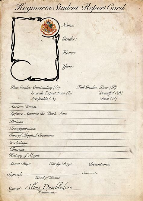 card template harry potter hogwarts report card base by renegadewandering on deviantart