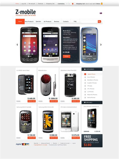 mobile store zencart template 34199