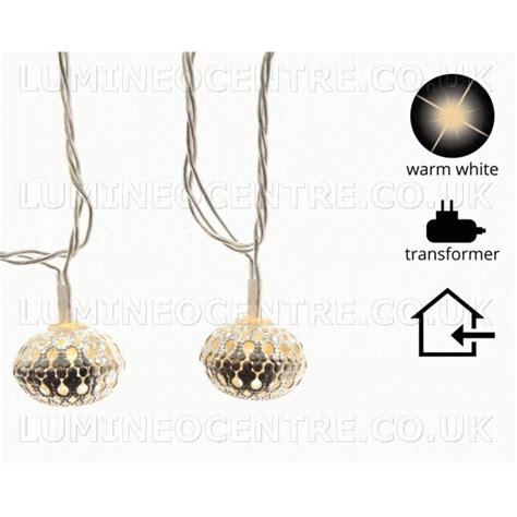 Lu Warm White lumineo 30 warm white led silver bauble lights