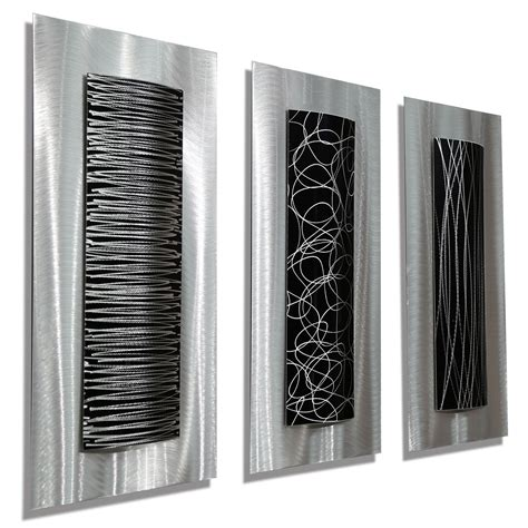modern metal wall trifecta striking 3 black and silver etched modern metal wall accent set of three 24