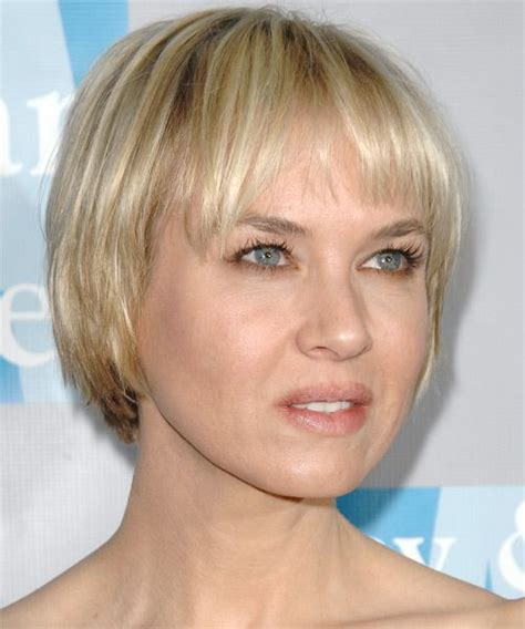 celebrity with wedge bob haircut renee zellweger short straight casual bob hairstyle