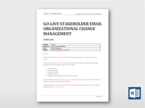 project manager email templates go live stakeholder email organizational change management