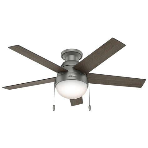 46 inch hunter fan anslee low profile matte silver ceiling