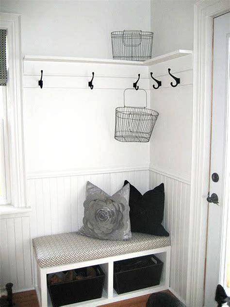 corner bench mudroom very small mudroom corner entryway idea beadboard and