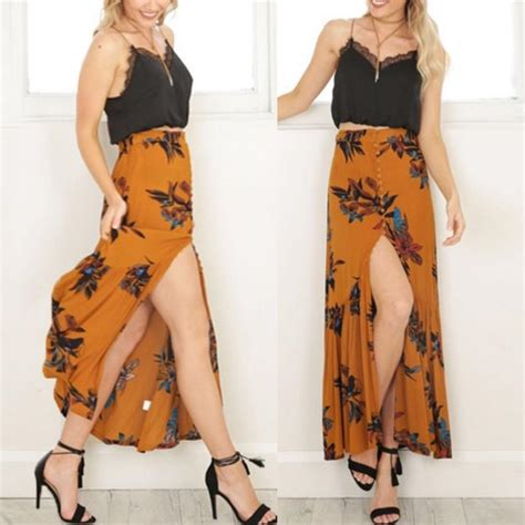 vintage floral print mustard maxi skirt with button