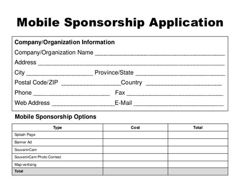 sponsor application template event mobile app sponsor template