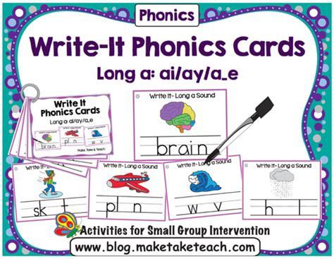 ai spelling pattern long vowel sounds spelling patterns write it phonics cards