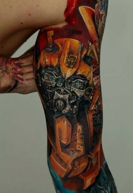 tattoo arm gets bigger colorful big arm tattoo of bumblebee transformer