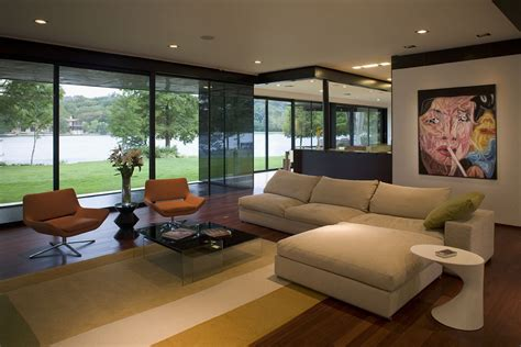 modern living room with lake view interior design ideas