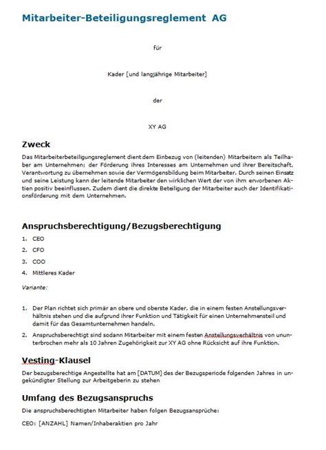 Muster Lebenslauf Kader Schweiz Mitarbeiterbeteiligung Muster Reglement Zum