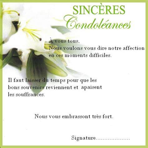 Lettre De Condol Ance Entreprise mot de condol 233 ances professionnel mod 232 le de lettre