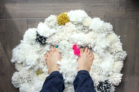 how to make a yarn pom pom rug how to make a diy pom pom rug make do crew