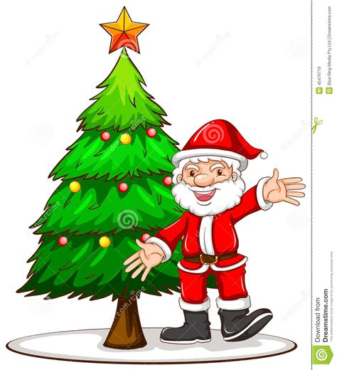 a sketch of a christmas tree with santa claus stock vector