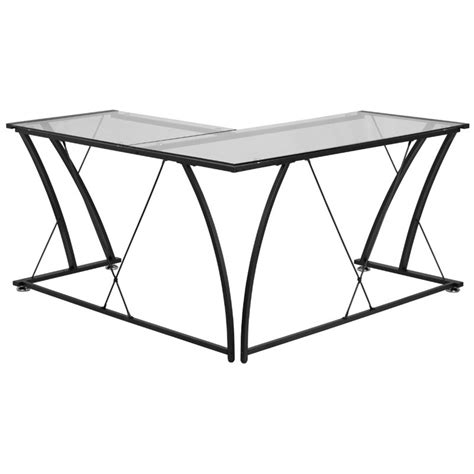 Glass L Shaped Computer Desk In Black Nan Wk 096 Gg Glass L Shaped Desk