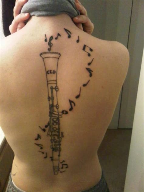clarinet tattoo back clarinet