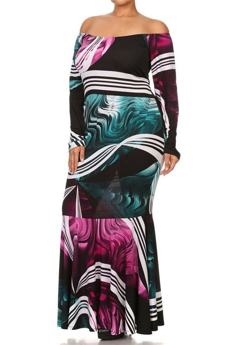 Claranti Abstract Flare Maxi Dress plus size solid dress flare silhouette with