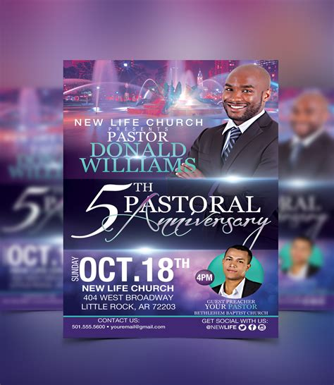 church flyer templates pastoral anniversary flyer template flyerthemes dise 241 o