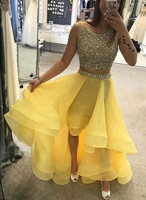 luxurious    piece high  yellow promhomecoming