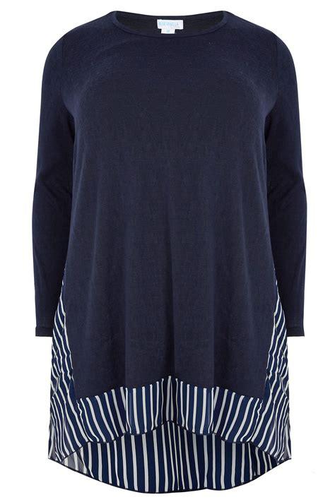 Vanilla Master Gift Card Balance - blue vanilla curve navy fine knit longline top with stripe chiffon panel curved hem