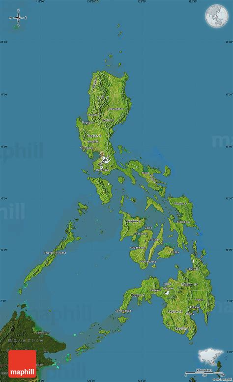 physical map of philippines philippinen satelliten karte