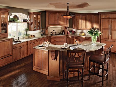 How To Clean Kraftmaid Kitchen Cabinets Cherry Kitchen In Burnished Featuring Vista Mullion Glass Doors Kraftmaid