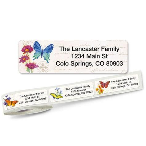 butterflies designer rolled return address labels butterflies and flowers rolled return address labels