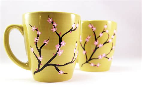 hand painted mug design painted coffee mugs hand painted mug with cherry by raesmith