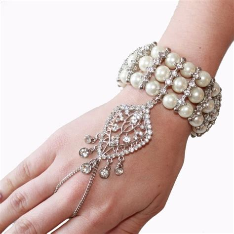 great gatsby chain bracelet 1920 s great gatsby inspired crystal pearl hand chain