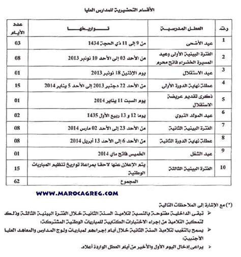 Calendrier Vacances Scolaires 2014 Maroc Calendriers Des Vacances Scolaires Universitaires Et Cpge