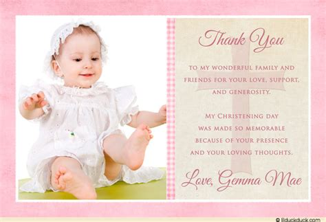 christening thank you cards template single photo christening thank you card pink brown