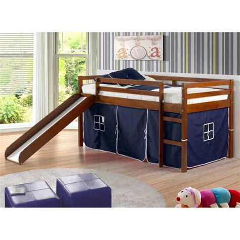 kids bunk beds with slide marsden espresso wooden loft bed slide blue tent dcg