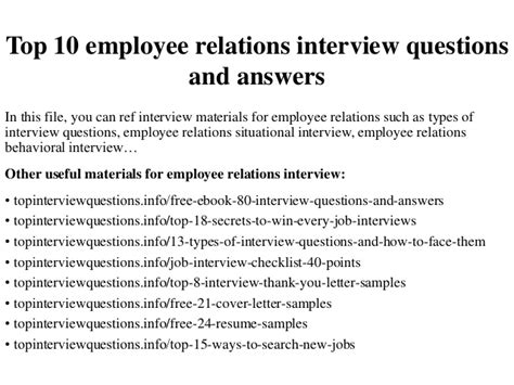 top 10 employee relations questions and answers