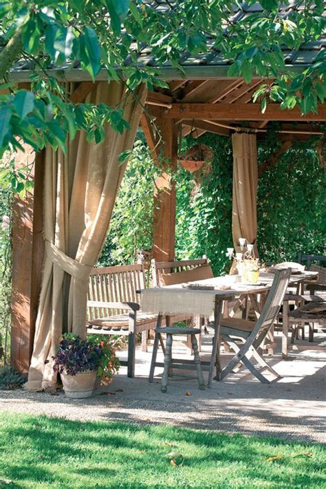 Pergola With Curtains Pergola With Canvas Curtains Yard Ideas
