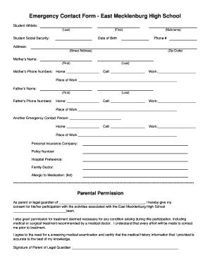school emergency contact card template parent contact log high school forms and templates