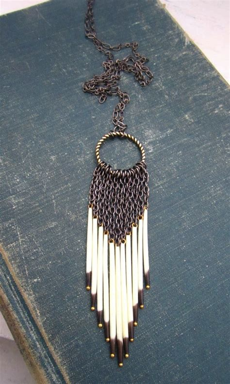 how to make porcupine quill jewelry dreamcatcher porcupine quill necklace by rejoice the