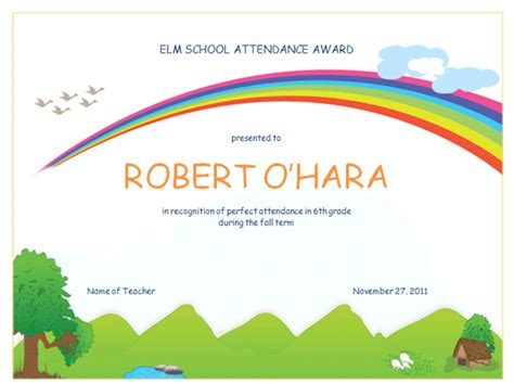 templates for school award certificates famous blank attendance award certificate templates
